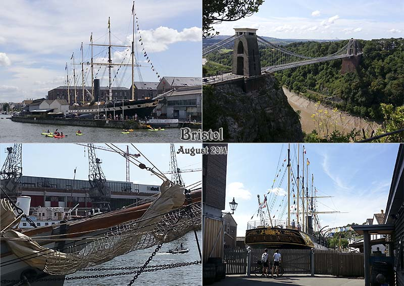 Postcard of my photos of the Clifton suspension Bridge and the SS Great Britain in Bristol
