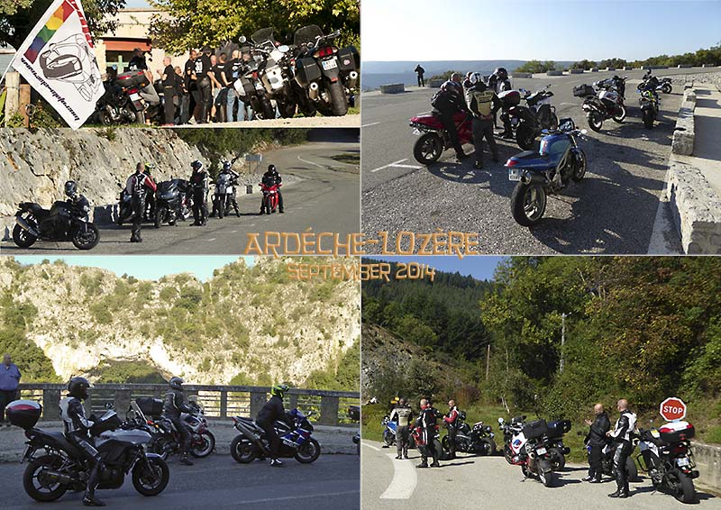 Postcard of some photos from a motorbike ride for the 30 birthday of AMA, to the Ardéche gorge, Mt Lozère and the Cévennes