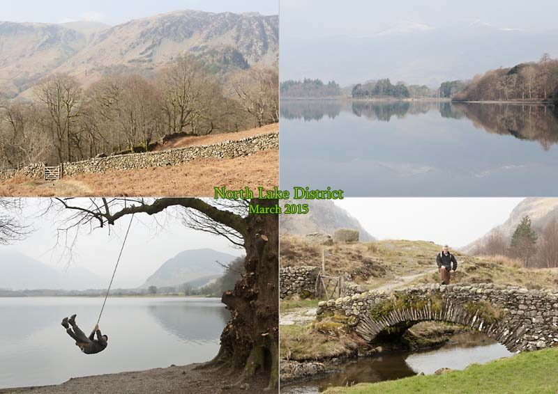 Postcard of my photos of Loweswater, Borrowdale, Watendlath Tarn, Derwent Water, Skiddaw in the Lake District