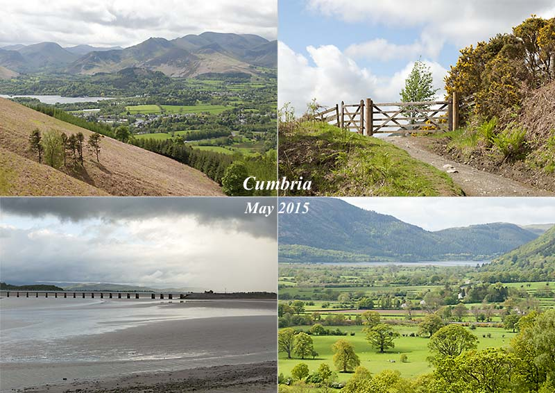 Latrigg, Keswick, Derwent Water and Arnside estuary in Cumbria, May 2015