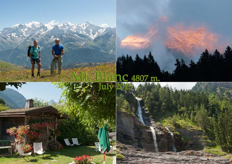 Postcard of my photos of our holiday hiking on and around the Mont Blanc massif in Savoie.