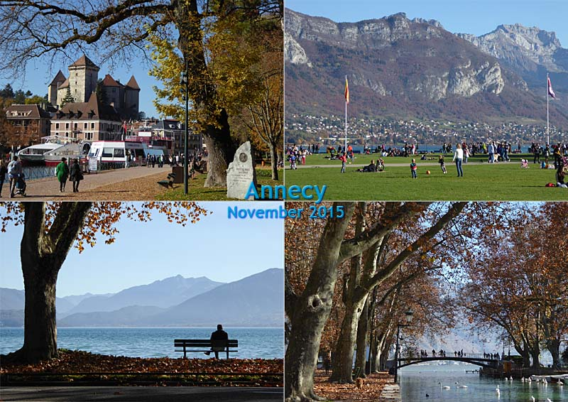 My postcard of my photos of autumn at the Lac d'Annecy in Savoie