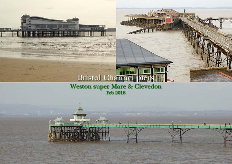 Clevedon, Birmbeck and Weston's Grand pier on the Bristol Channel coast