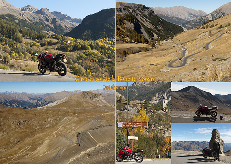 Postcard of my photos of my bike ride and hike to the Cime de la Bonette, 2862m 9390ft.
