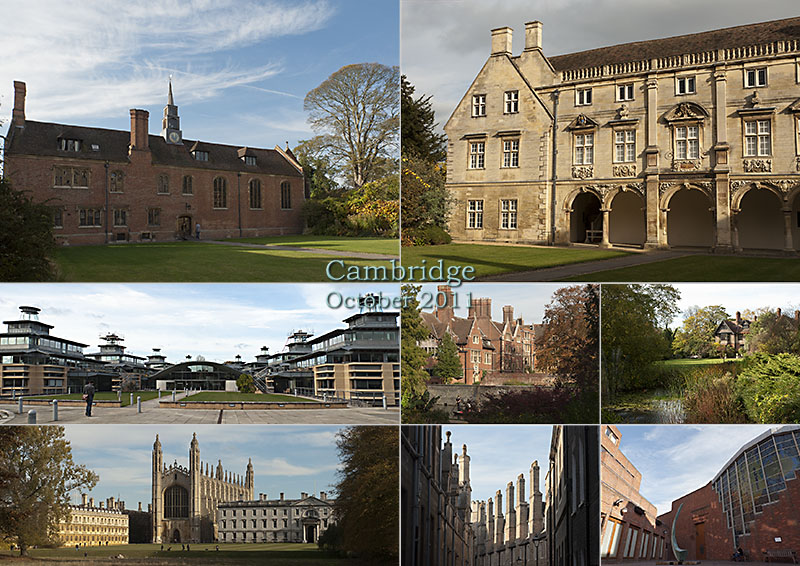 New and ancient architecture of Cambridge University: Magdalene, Kings, Robinson Colleges and the Centre for Mathematical Sciences