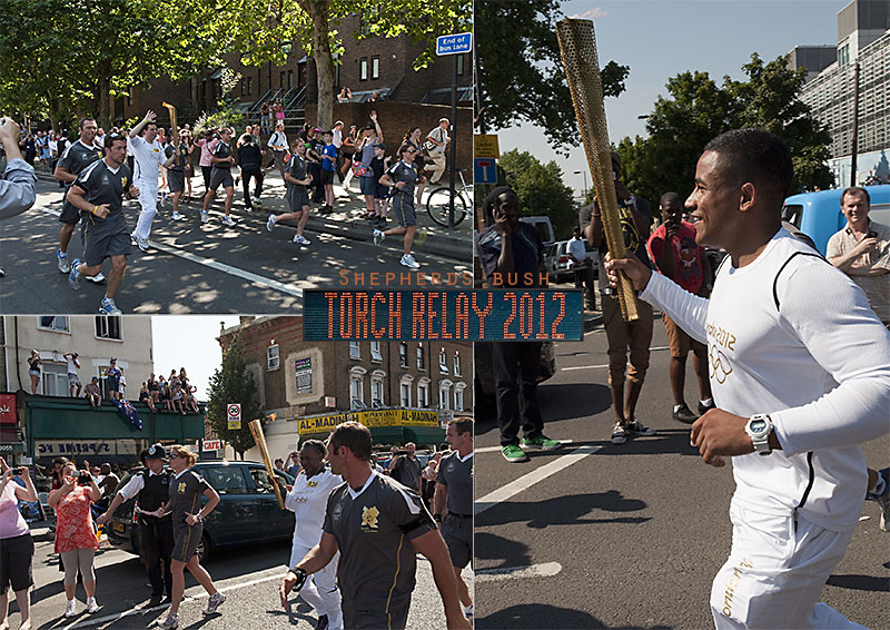 Olympic torch in Shepherds Bush, West London