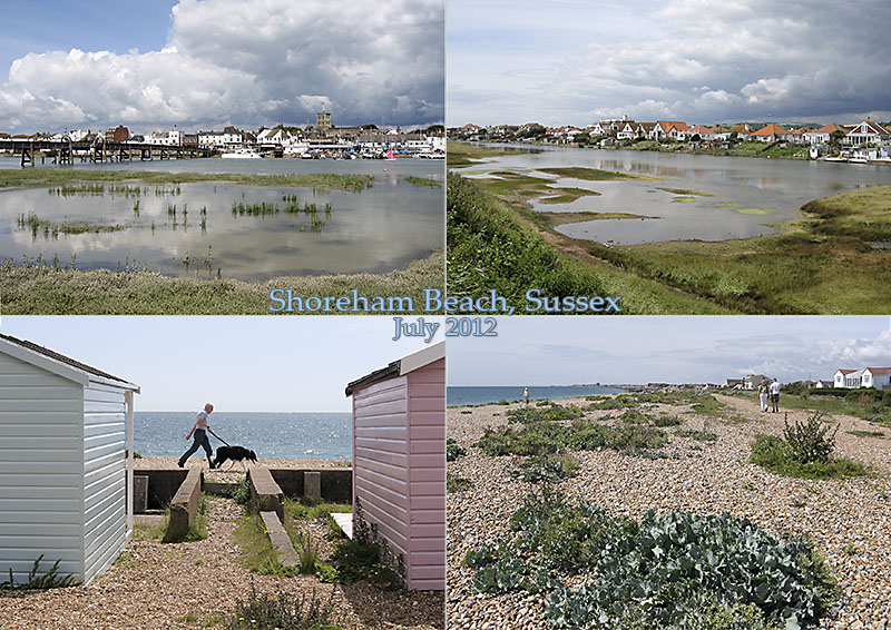 Postcard of my photos of Shoreham Beach in Sussex. Shows harbour, Widewater lagoon, beach walk and beach huts