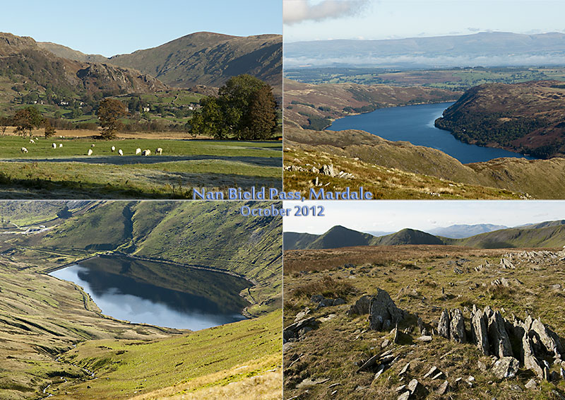 Views of Hawkeswater and Kentmere from Nan Bield Pass and Mardale III Bell, Cumbria
