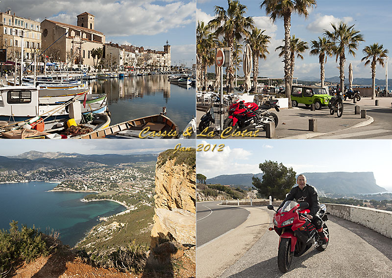 Postcard of my photos of my first bike ride of 2013: Cassis and La Ciotat.