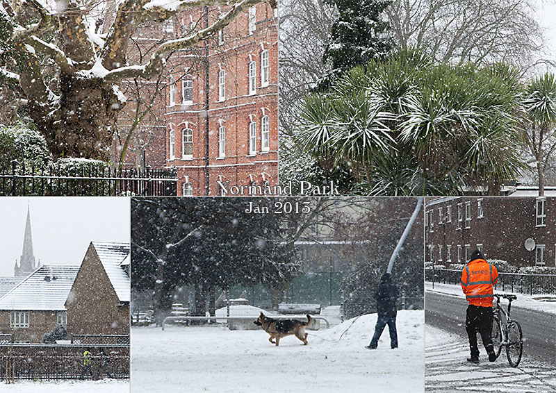 Postcard of my photos of snow in Normand Park, Hammersmith & Fulham, London W14, January 2013
