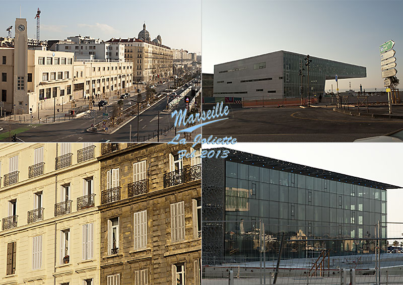 Postcard of my photos of the new architecture at Marseille La Joliette