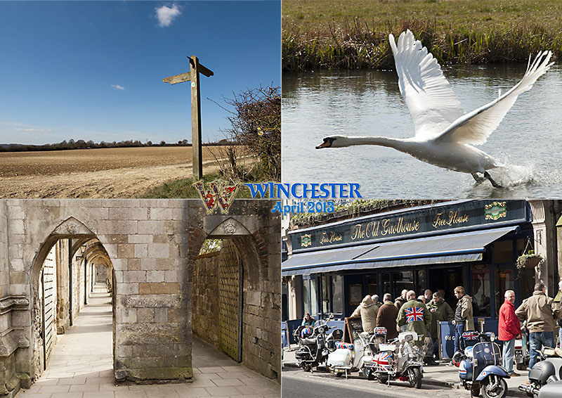 Winchester April 2013, shows swan i=on river Itchen, footpath, Winchester cathedral stone arches, scooterist meet