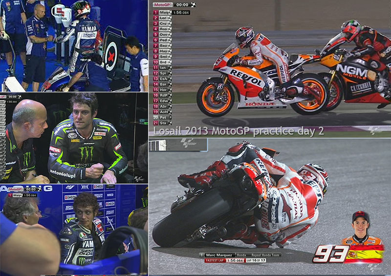 Screen grabs from practice day 2 of the 2013 Losail MotoGP