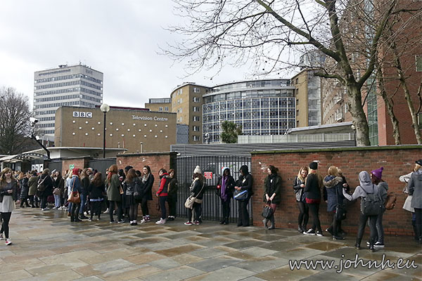 BBC Television Centre - fans queue for tickets to Comic Relief