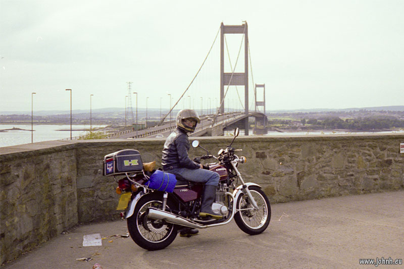 Z750 at the Severn Bridge, summer 1978